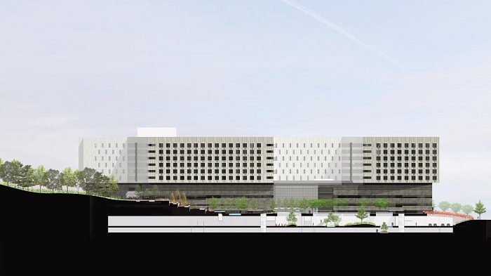 side view rendering Medical City For Healing - XiangYa Hospital in China desifned by Payette