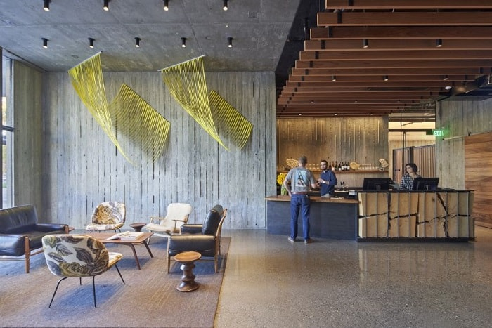Healdsburg Harmon Hotel reception in California by David Baker Architects