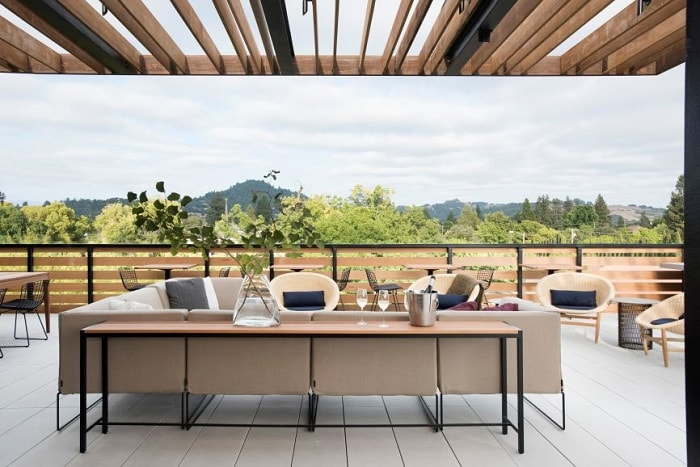 Healdsburg Harmon Hotel terrace in California by David Baker Architects