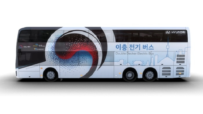 Hyundai Motor Introduces Electric Double-Decker Bus Side left