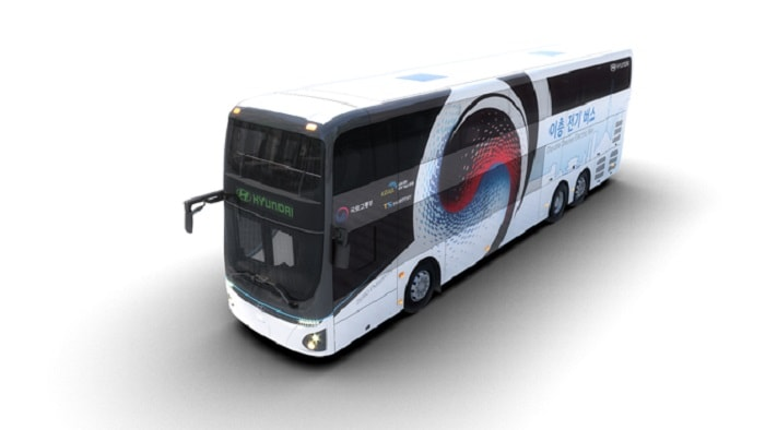 Hyundai Motor Introduces Electric Double-Decker Bus front left