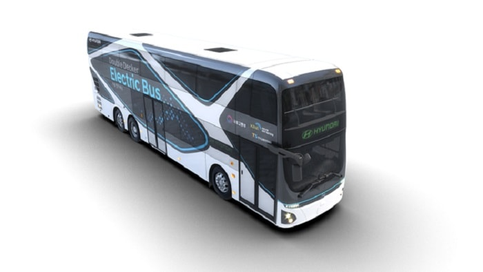 Hyundai Motor Introduces Electric Double-Decker Bus front