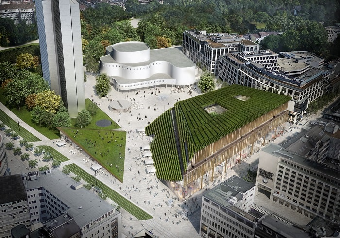 Kö-Bogen 2 with green roof by Ingenhoven Düsseldorf Germany supergreen-project DGNB platinum
