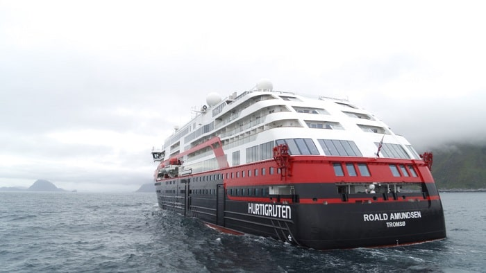 MS Roald Amundsen - Hurtigruten Norway, Back Battery-Powered Cruise Ship, air pollution