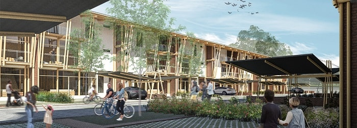 Sustainable Bamboo Mass Housing street life in Malaysia-Eleena Jamil Architect