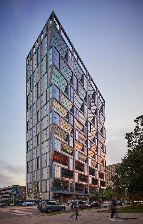 Solistic Tower in Solstice on the Park by Studio Gang shaped by sun