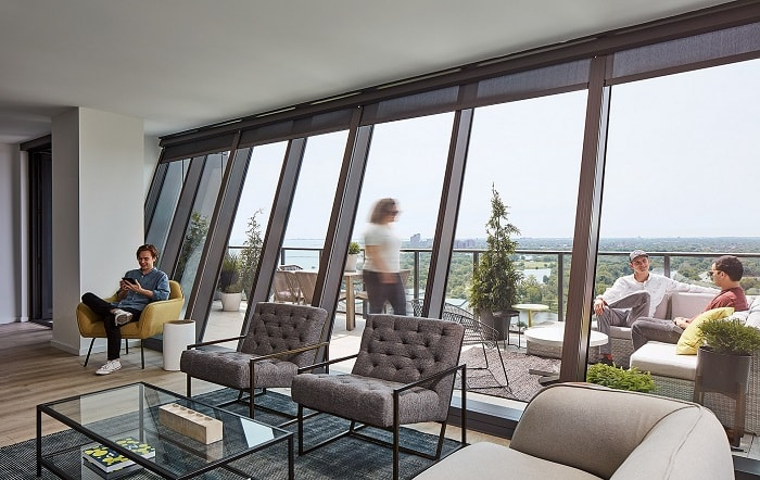 Solistic Tower in Solstice on the Park by Studio Gang with interior view