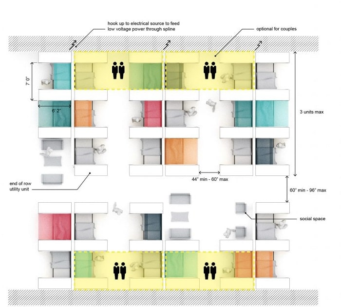 Dome Sleep Pod from Perkins&Will - layout organization and orientation couples